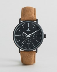Asos Watch With Distressed Leather Strap Brown