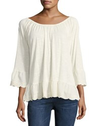 Sanctuary Juliette Ruffle Trim Blouse Beige