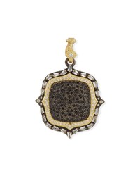 Armenta Old World Two Tone Diamond And Black Sapphire Pendant Enhancer Gold