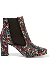 Tabitha Simmons Micki Floral Print Leather Ankle Boots Black