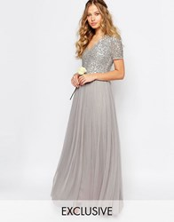Maya V Neck Tulle Maxi Dress With Tonal Delicate Sequins Grey