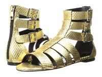 Just Cavalli Python Leather Sandal Gold Women's Shoes