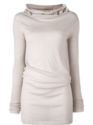 Rick Owens Cowl Neck Jumper Nude And Neutrals