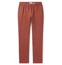 De Bonne Facture Tapered Brushed Linen Drawstring Trousers Red