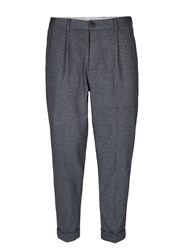 Selected Homme Grey Crosshatch Cropped Trousers