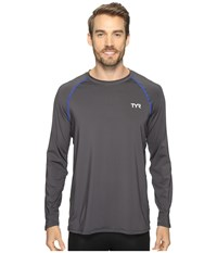 Tyr Long Sleeve Rashguard Grey Men's Swimwear Gray