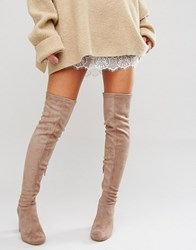 Miss Kg Vegas Heeled Over The Knee Boots Taupe Suedette Beige