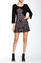 Papillon Scoop Neck 3 4 Sleeve Sweater Dress Multi