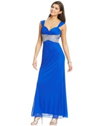 Hailey Logan By Adrianna Papell Juniors' Beaded Back Cutout Gown Electric Blue
