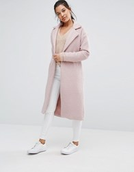 Missguided Textured Maxi Coat Dusty Pink