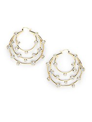 Noir Cubic Zirconia Tiered Circular Hoop Earrings 2In Gold