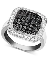 Victoria Townsend Sterling Silver Ring Black Diamond 1 4 Ct. T.W. And White Diamond Accent Square Ring