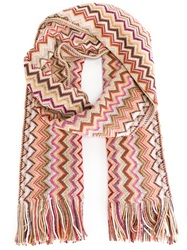Missoni Signature Zig Zag Knit Fringed Scarf Nude And Neutrals