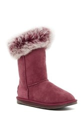 Australia Luxe Collective Foxy Short Hidden Wedge Genuine Fox Fur And Shearling Boot Red