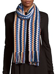 Missoni High Contrast Hat And Scarf Set Blue