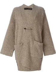 Isabel Benenato Long Oversized Cardigan Brown