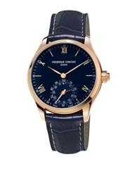Frederique Constant Horological Leather Strap Smart Watch Navy Blue
