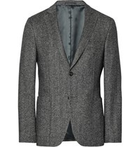 Officine Generale Grey Slim Fit Herringbone Wool And Silk Blend Flannel Blazer Gray