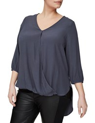 Junarose V Neck Hi Lo Blouse Blue