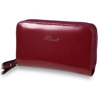 Fontanelli Two Zipper Spacious Wallet Bordeaux