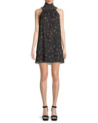 Bailey 44 Irina Floral Turtleneck Sleeveless Mini Dress Black Pattern