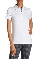 Peter Millar Short Sleeve Print Trimmed Polo Blue