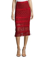 Oscar De La Renta Silk Pencil Skirt Ruby