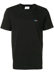 Ami Alexandre Mattiussi Crewneck Tee With Blue White Red Embroidery Black
