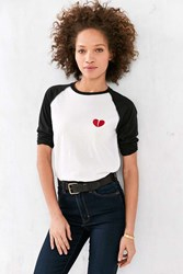 Camp Collection Lonely Hearts Baseball Tee Black And White
