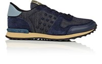 Valentino Men's Rockrunner Denim And Suede Sneakers Blue