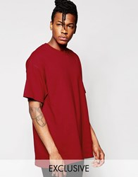 Reclaimed Vintage Oversized T Shirt Burgundy Red