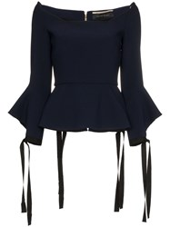 Roland Mouret Holden Tie Cuff Long Sleeve Top Blue