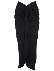 Yanny London Knotted Midi Skirt Midnight Blue
