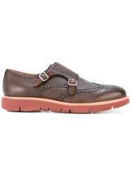 Henderson Baracco Contrast Sole Monk Shoes Brown