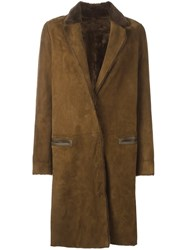 Yves Salomon Long Notched Lapel Coat Brown