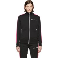 Palm Angels Black And Pink Jersey Track Jacket