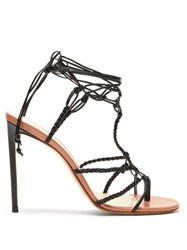 Francesco Russo Braided Ankle Strap Leather Sandals Black