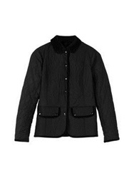 Barbour Terrain Quilt Button Up Coat Black