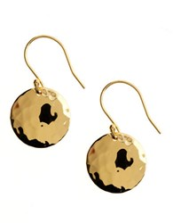 Lord And Taylor 18 Kt Gold Over Sterling Silver Hammered Disc Drop Earrings