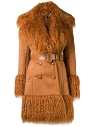 Elisabetta Franchi Shaggy Trimmed Trench Coat Nude And Neutrals