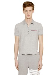 Thom Browne Distressed Thick Cotton Jersey Polo
