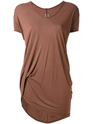 Rick Owens Longline T Shirt Women Silk Viscose 40 Brown