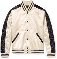 Calvin Klein Collection Rankin Satin Bomber Jacket Cream
