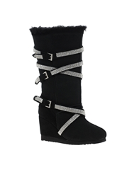 Love From Australia Solitaire Diamond Wedge Boots Black