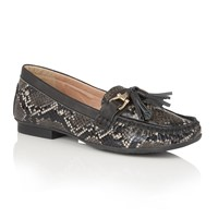 Lotus Chalina Animal Print Loafers Black