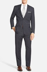 Men's Big And Tall Hart Schaffner Marx 'New York' Classic Fit Check Wool Suit Grey