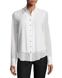 Karl Lagerfeld Georgette Pleated Front Blouse White