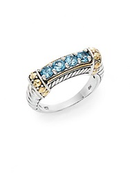 Effy 925 Blue Topaz Sterling Silver And 18K Yellow Gold Ring Silver Blue