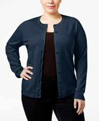 Karen Scott Plus Size Button Front Cardigan Only At Macy's Intrepid Blue
