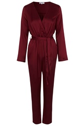 Sophie Satin Jumpsuit By Wyldr Red